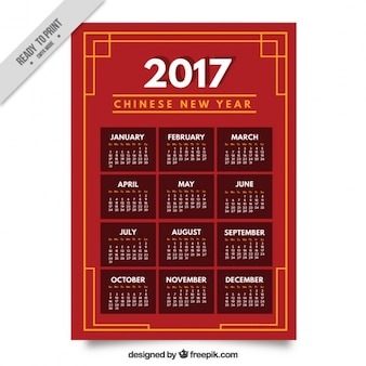 Chinese new year calendar with yellow details