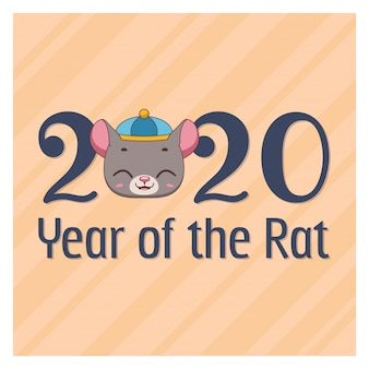 Chinese new year card with cute rat face