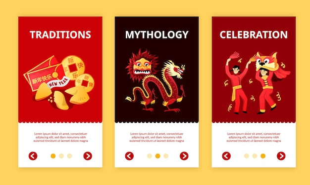 Chinese new year celebration traditions mythology three colorful vertical banners