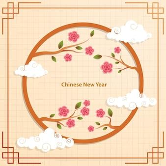 中国の旧正月、中国の花の背景、春の花 Premiumベクター