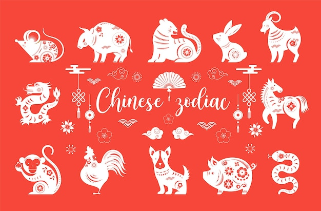 Chinese new year, chinese zodiac animals symbols.  illustration