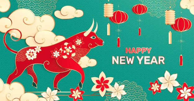 Chinese new year composition with editable text and asian style image of bull with flowers lanterns illustration
