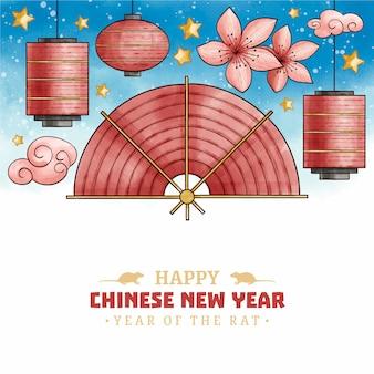 Китайский новый год концепция в акварели