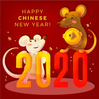 Chinese new year concept in watercolor