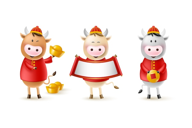 Chinese new year cute bulls. funny characters in cartoon 3d style. year of the ox zodiac. happy bulls with gold coin, ingot and scroll.