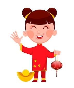 Chinese new year, cute girl holding lantern