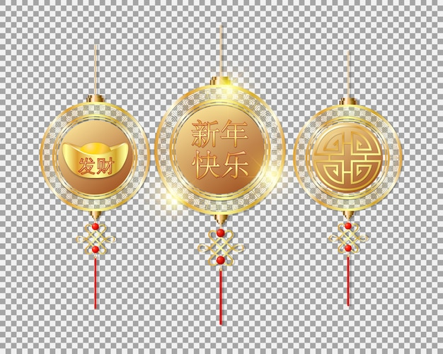 Chinese new year decorations gold hanging on transparent