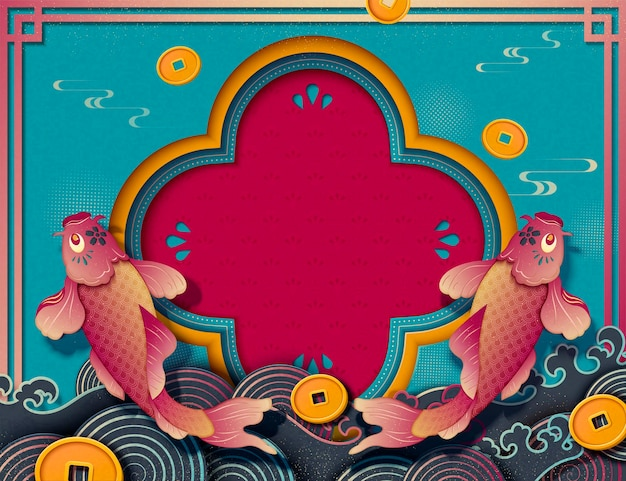 Chinese new year design with koi carps and golden coins decorations, paper art style background