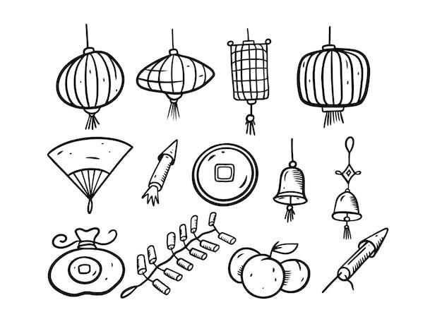 中国の旧正月の落書き要素セット。黒と白の色。白い背景で隔離。