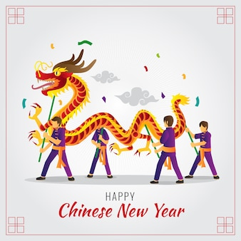 Chinese new year dragon dance illustration