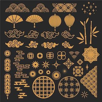中国の旧正月の要素。黄金のアジアの伝統的なスタイル、雲と装飾的な花。