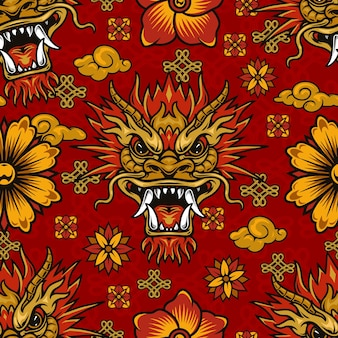 Chinese new year elements seamless pattern with fantasy dragon, flowers, clouds and endless knots