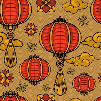 Chinese new year elements seamless pattern with lanterns flowers clouds and endless knots on waves background