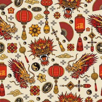 中国の旧正月の要素のシームレスなパターン