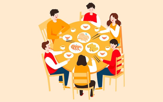Chinese new year family dinner illustration family eat reunion dinner holiday poster