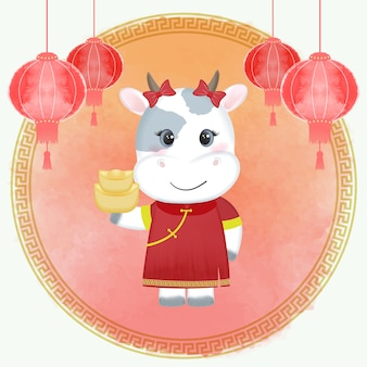 Chinese new year festival celebration, cow zodiac year sign Premium Vector
