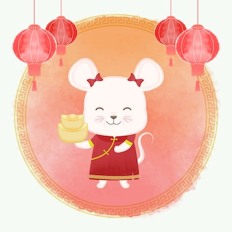 Chinese new year festival, mouse zodiac year sign