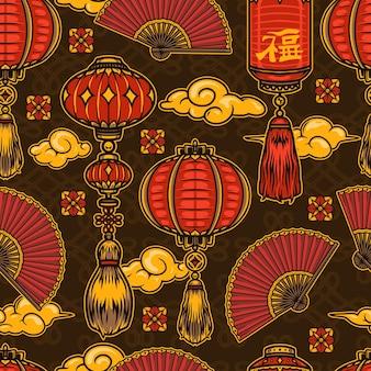 등불 구름 접는 팬과 끝없는 매듭에 꽃과 빈티지 스타일의 중국 새해 축제 원활한 패턴