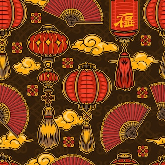 Chinese new year festive seamless pattern in vintage style with lanterns clouds folding fans and flowers on endless knots