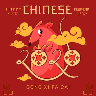Chinese new year in flat design