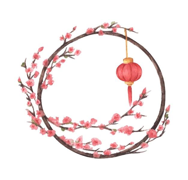 중국 새 해 프레임. 랜턴과 벚꽃 나무. 수채화 그림.