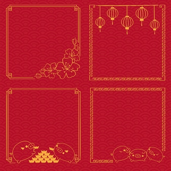 Chinese new year frame on traditional pattern background