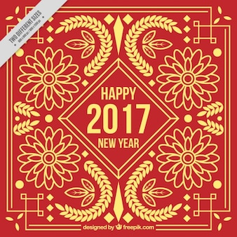 Chinese new year golden floral ornamental background