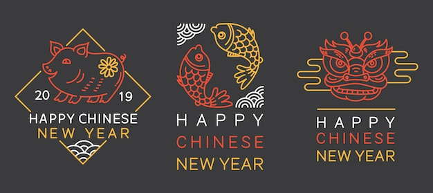 Chinese new year greeting badge