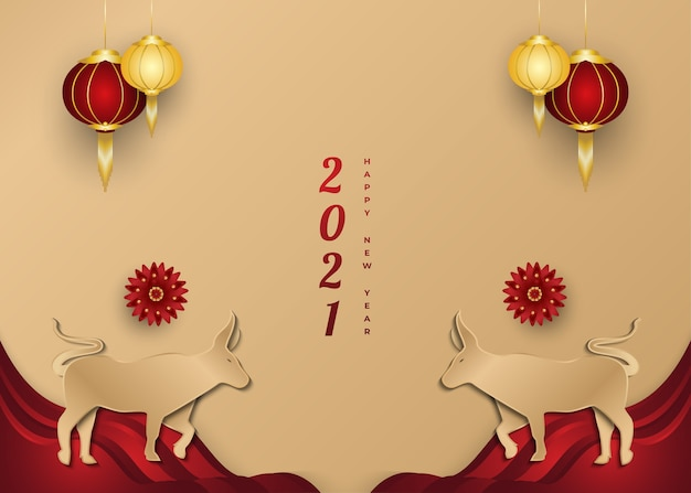 Chinese new year greeting banner with golden ox and lantern on paper cut background
