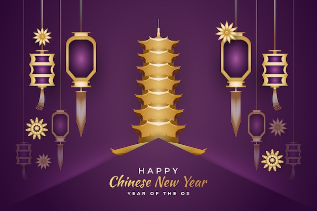 Chinese new year greeting with gold pagoda and lanterns in paper cut concept on purple background