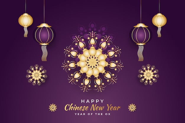 Chinese new year greeting with lanterns and golden mandala