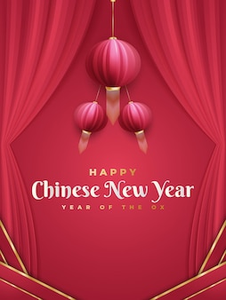 Chinese new year greeting  with red lanterns and curtains on red background