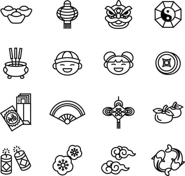 Chinese new year icon set 2. thin line style stock vector.