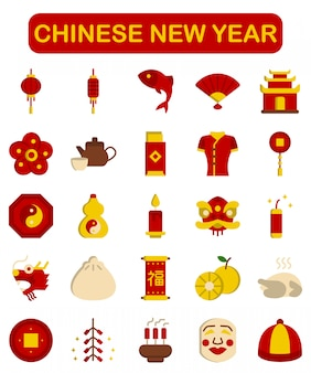 Chinese new year icons set, flat style