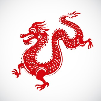 ドラゴンと中国の旧正月のイラスト