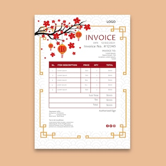 Chinese new year invoice template