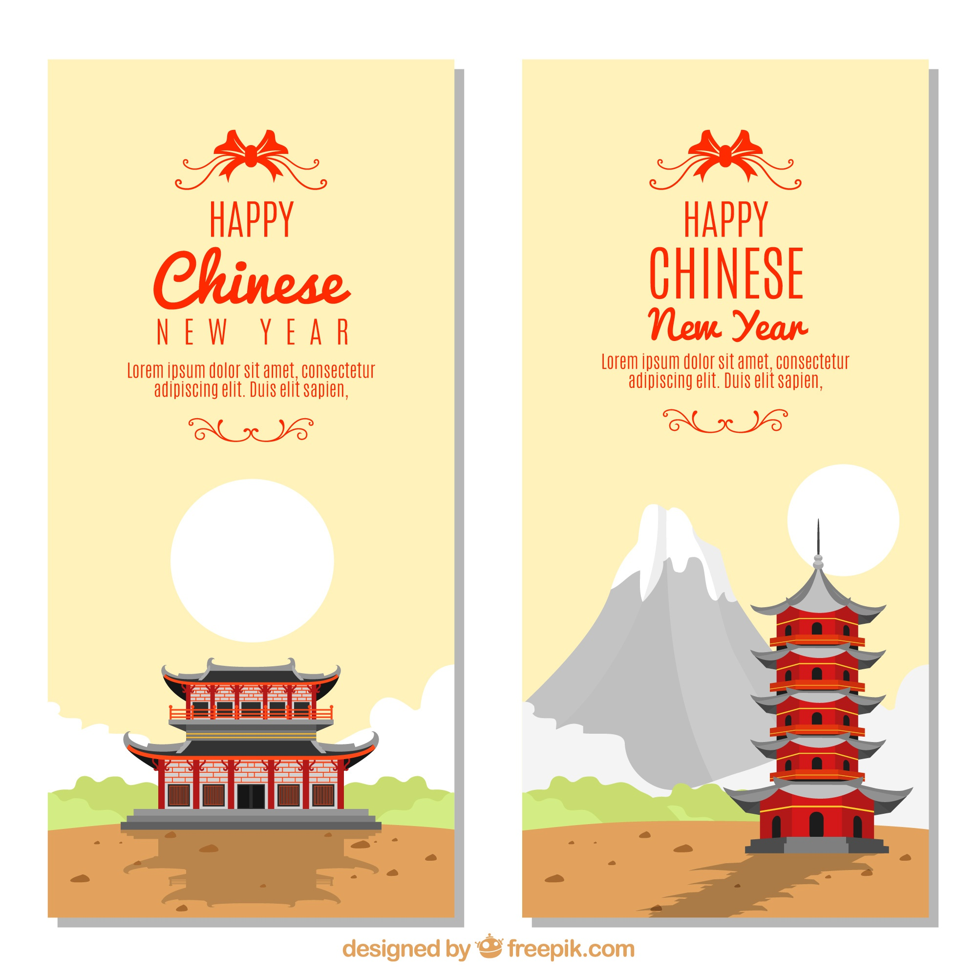 Chinese new year landscape banners