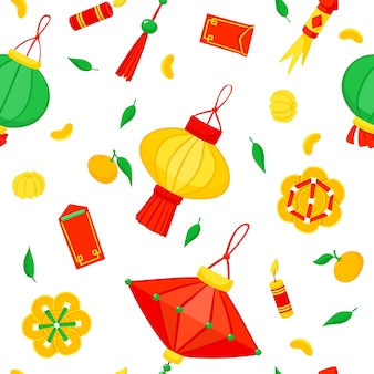 Chinese new year. lanterns and fireworks seamless pattern.