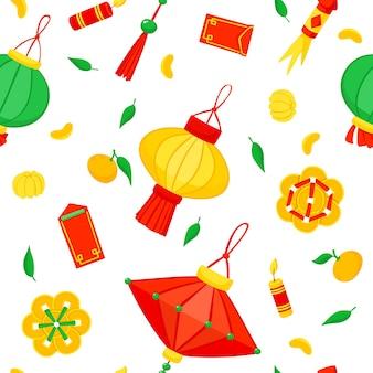 Capodanno cinese. modello senza cuciture di lanterne e fuochi d'artificio.