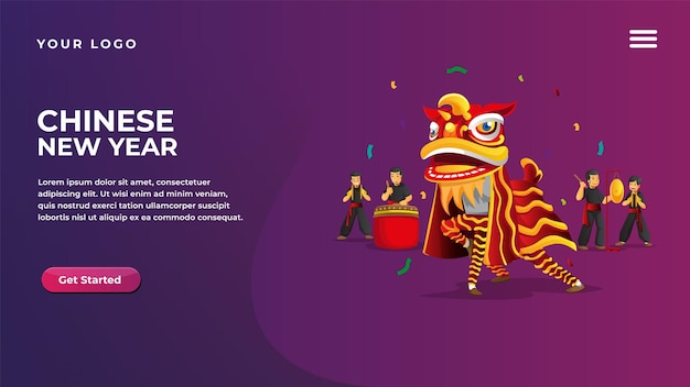 Chinese new year lion dance concept for website and mobile apps landing page