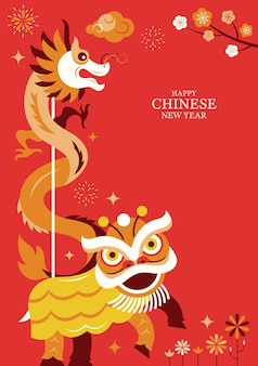 Chinese new year lion and dragon dance character background