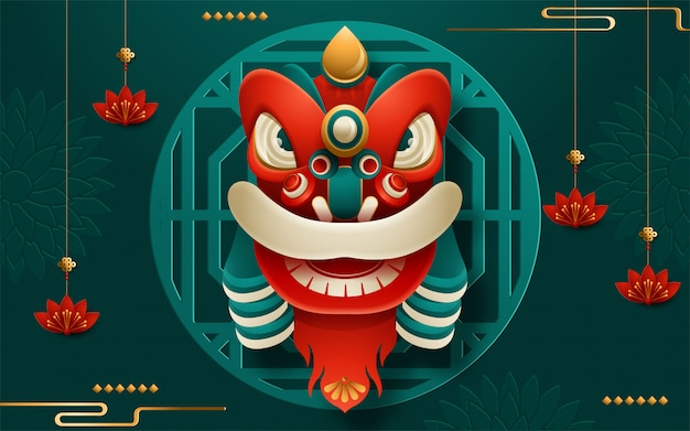 Chinese new year lion head with scroll. translation : happy new year. vector illustration
