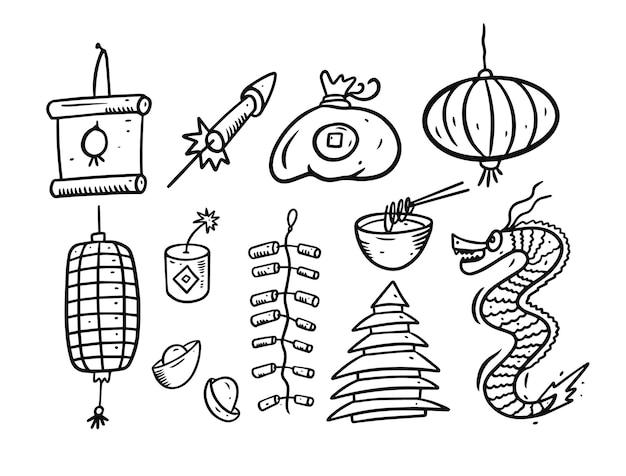 中国の旧正月多くの要素。黒い色の漫画のスタイル。スケッチ。白い背景で隔離。