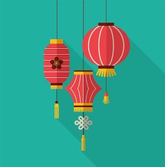 Китайский новый год, минималистичный плоский дизайн с фонарями