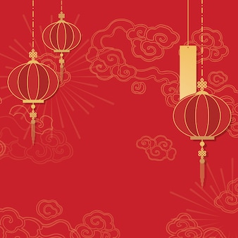 Chinese new year mockup illustration