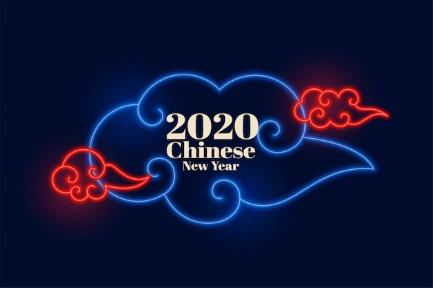 Chinese new year neon clouds design