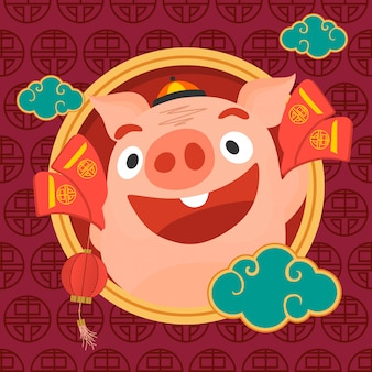 Chinese new year pig character