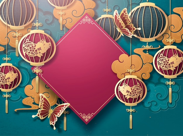 吊り提灯と金色の雲と中国の旧正月のポスターテンプレート