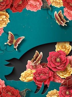牡丹の花と貯金箱の形の中空、ターコイズブルーの背景を持つ中国の旧正月のポスターテンプレート