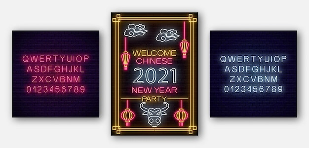 Chinese new year poster white bull 2021 in neon style with alphabet. party invitation template.